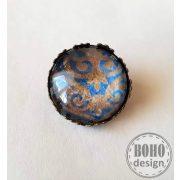 Oriental - kék-aranybarna - üveglencsés fém alapú kitűző