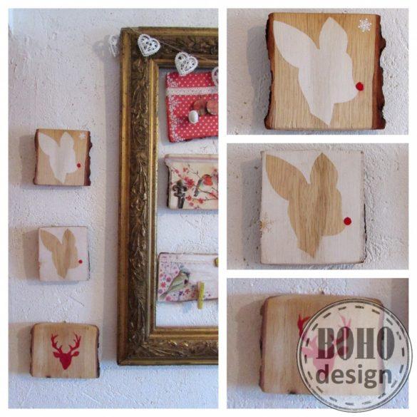 Rudolf - kézzel festett fa dekoráció