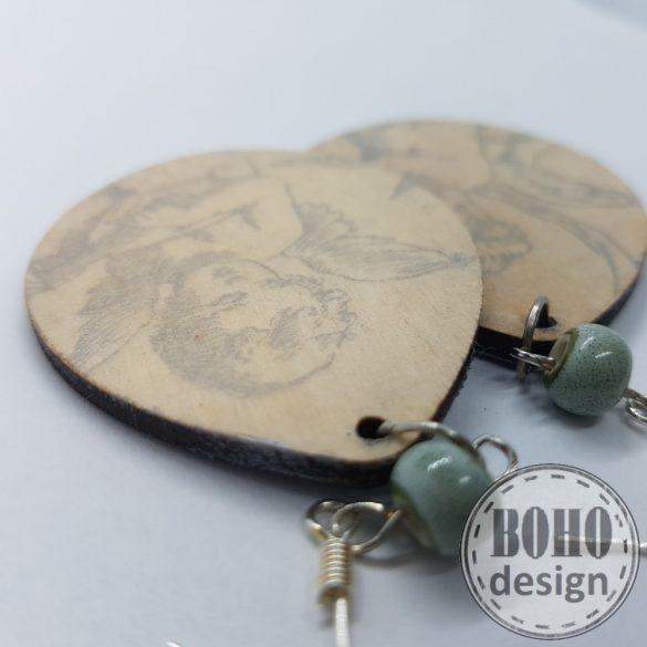 Ezüst angyalka- BOHOdesign aszimmetrikus fülbevaló