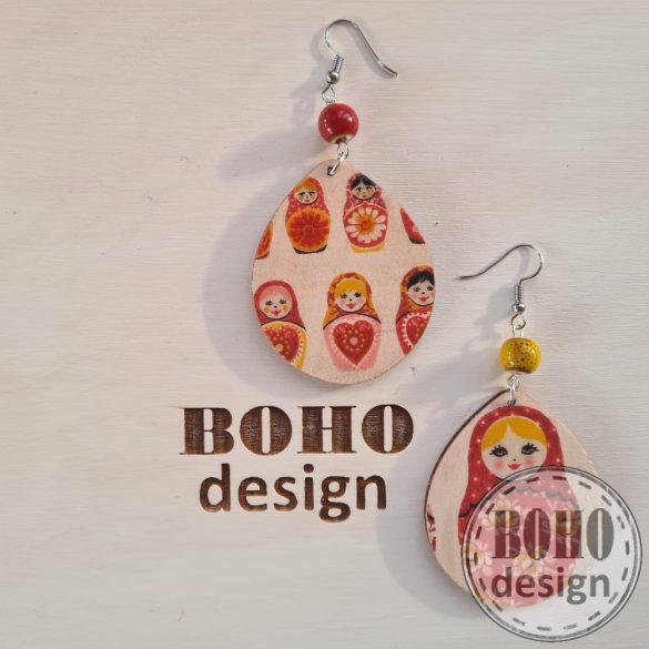 Matrjoska baba - BOHOdesign aszimmetrikus fülbevaló