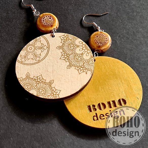 Karácsonyi arany mandala - BOHOdesign aszimmetrikus fülbevaló