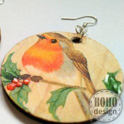 Vörösbegy és a cinke bogyóval - BOHOdesign aszimmetrikus fülbevaló