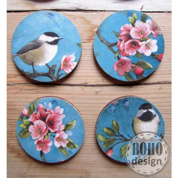 Cinke cseresznyevirággal BOHOdesign aszimmetrikus fülbevaló