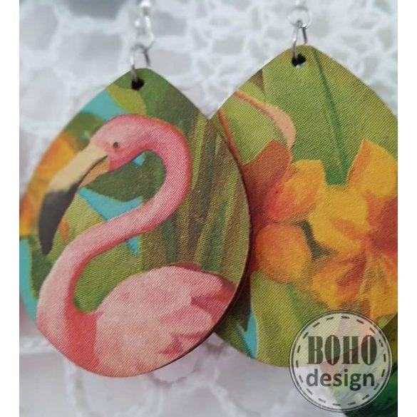 Flamingó aszimmetrikus fülbevaló