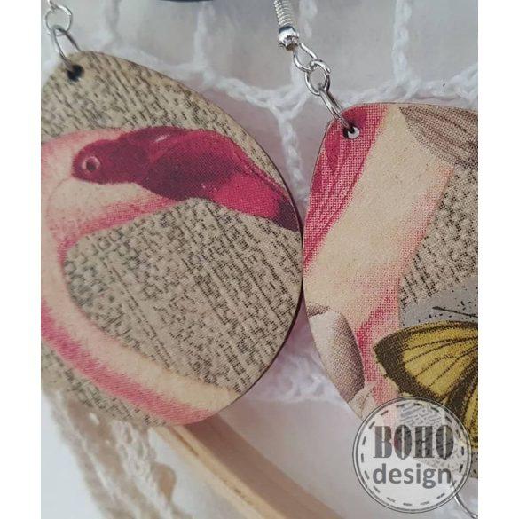 Flamingó-pillangó aszimmetrikus fülbevaló