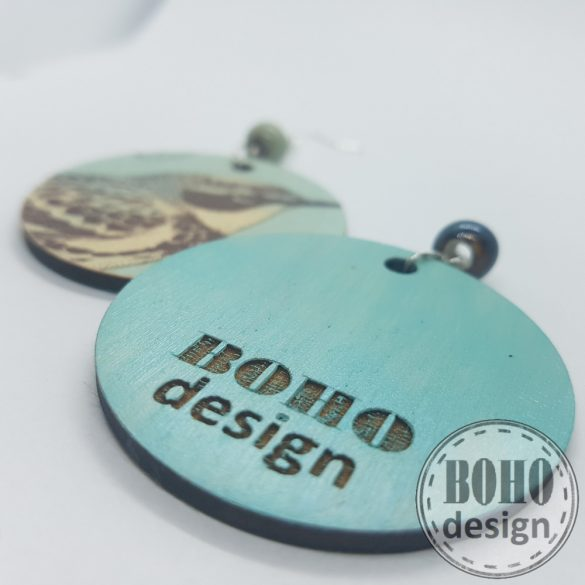 Madárka türkiz - BOHOdesign aszimmetrikus fülbevaló