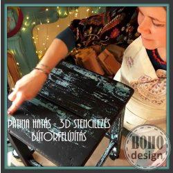 ONLINE BÚTORFESTÉS 2. Patina hatások, 3D stencilezés, bútorfestés csiszolás nélkül