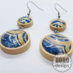 Oriental - kék-aranybarna - üveglencsés dupla fülbevaló