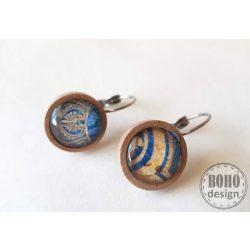 Oriental - kék-aranybarna - üveglencsés fa alapú fülbevaló