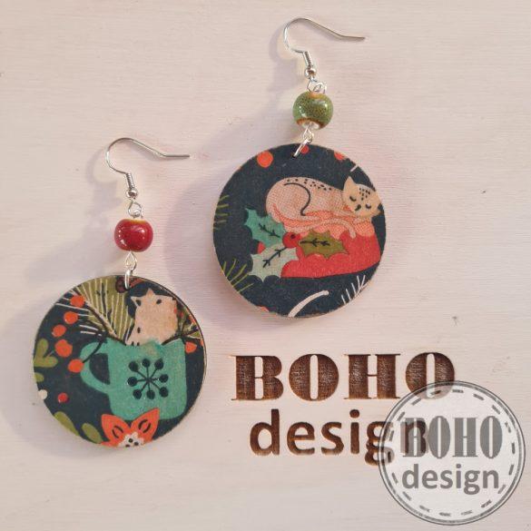 Karácsonyi cicás - BOHOdesign aszimmetrikus fülbevaló