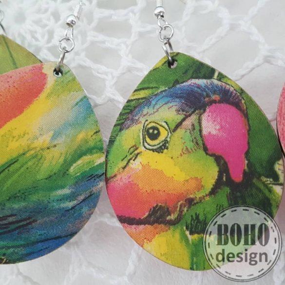 Papagájos aszimmetrikus fülbevaló