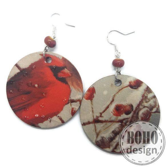 Karacsonyi  madaras faágas- BOHOdesign aszimmetrikus fülbevaló