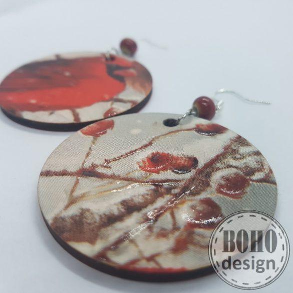 Kardinális pinty - BOHOdesign aszimmetrikus fülbevaló