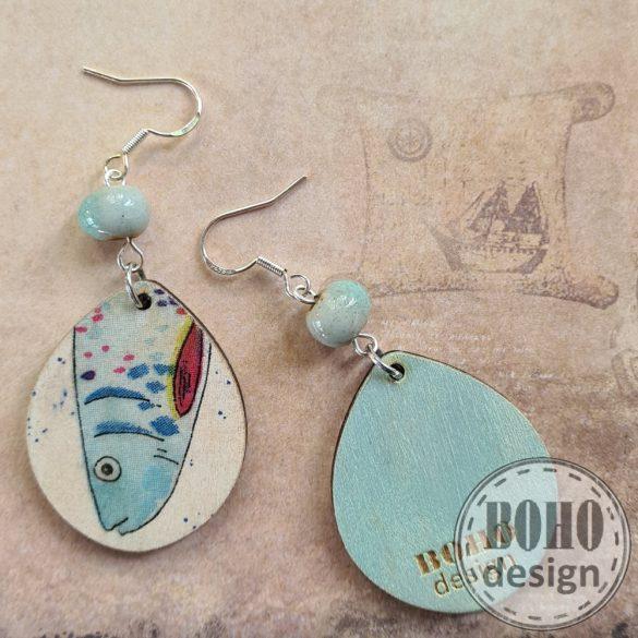 Kis kék halas - aszimmetrikus fülbevaló