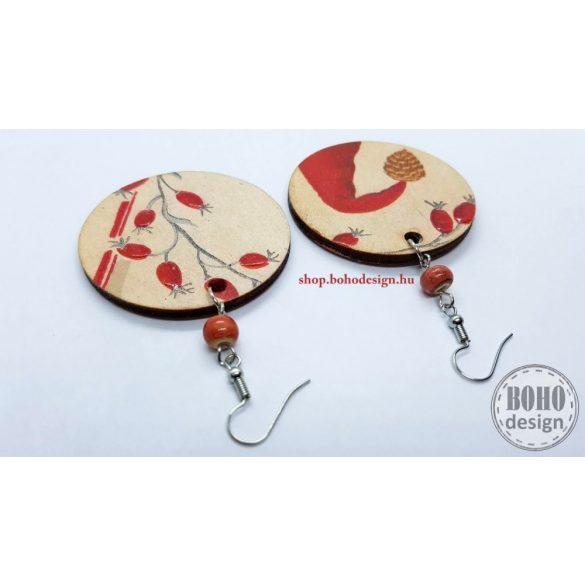 Manósapis csipkebogyós - BOHOdesign aszimmetrikus fülbevaló