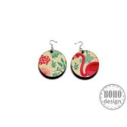 Flamingó piros kisvirágos aszimmetrikus fülbevaló