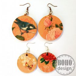 Cinke - rózsa rózsaszín aszimmetrikus fülbevaló