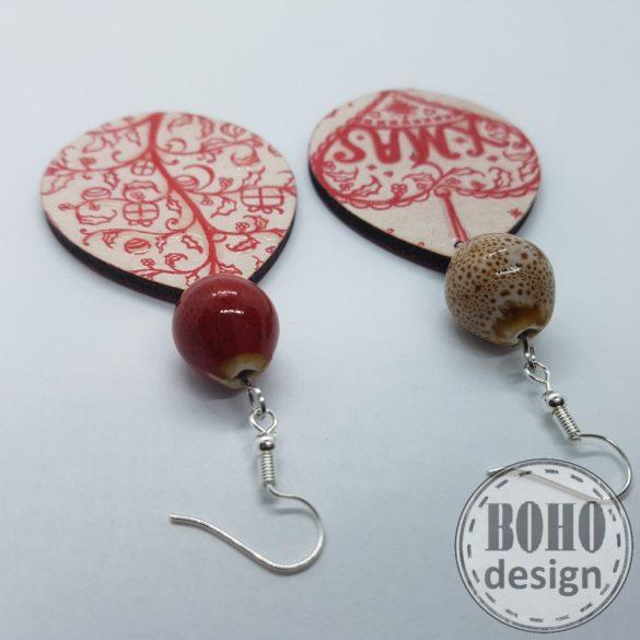 Piros karácsonyfa és szívecske -  BOHOdesign aszimmetrikus fülbevaló