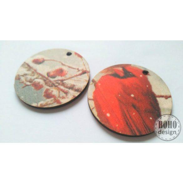 Kardinálispinty csipkebogyval - BOHOdesign aszimmetrikus fülbevaló