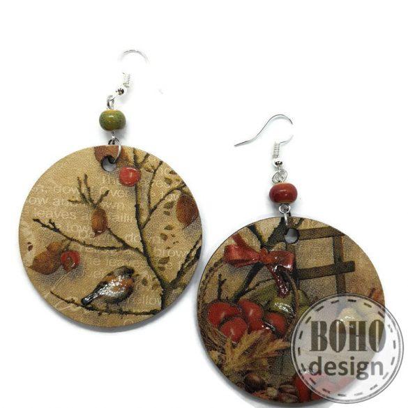 Karacsonyi  madárkás és gyümölcsös - BOHOdesign aszimmetrikus fülbevaló