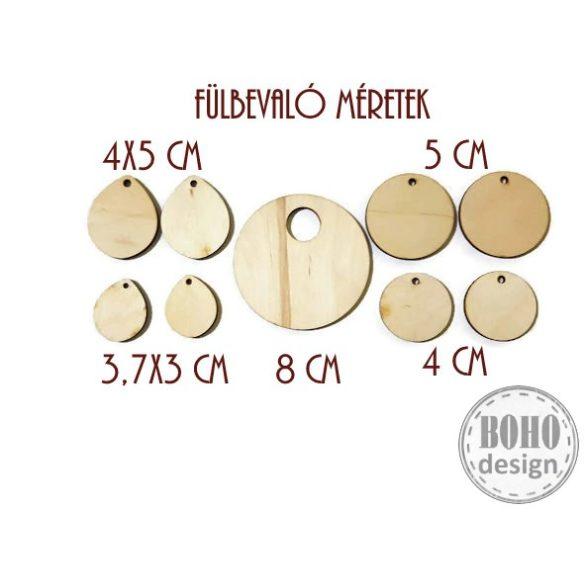 Madárka és faleveles mintás - BOHOdesign aszimmetrikus fülbevaló