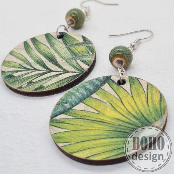 Zöld leveles - aszimmetrikus fülbevaló