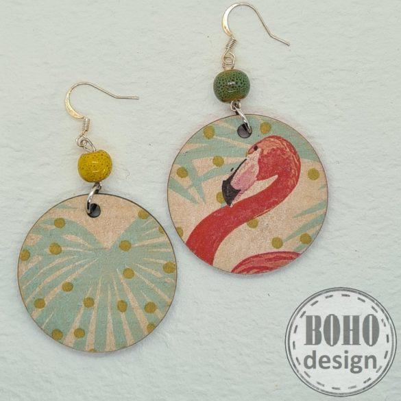 Flamingó és levél -  aszimmetrikus fülbevaló
