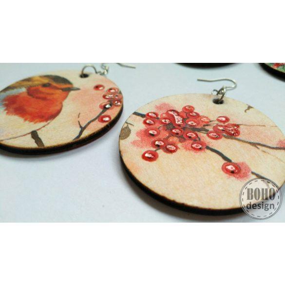 Vörösbegy és a bogyós ágak - BOHOdesign aszimmetrikus fülbevaló