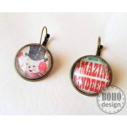 Vintage hangulatú hóemberes - piros üveglencsés fülbavaló