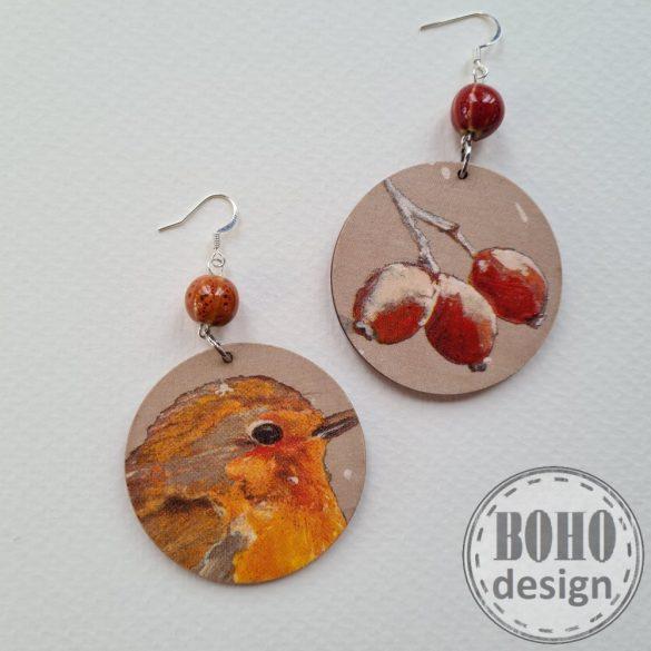 Narancssárga madár- csipkebogyós  - BOHOdesign aszimmetrikus fülbevaló