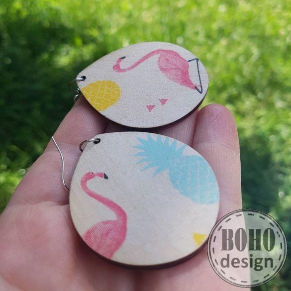 Flamingó ananászos aszimmetrikus fülbevaló