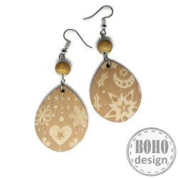 Arany szívecske és karácsonyi mintás- BOHOdesign aszimmetrikus fülbevaló