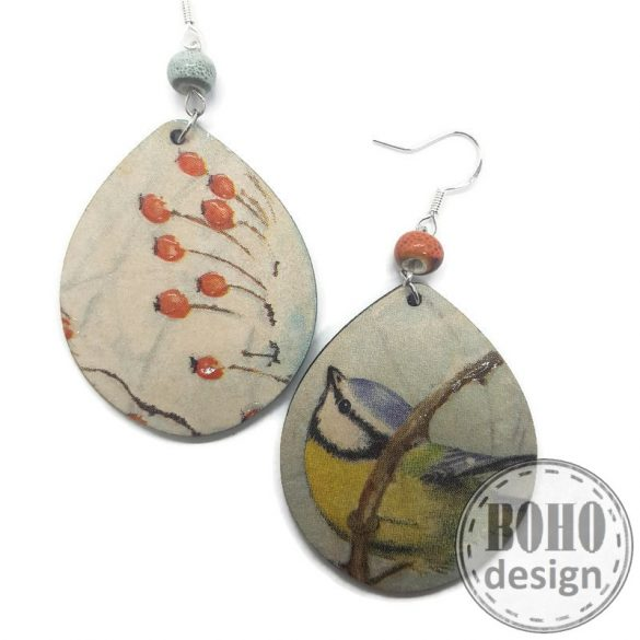Csipkebogyós és madárkás- BOHOdesign aszimmetrikus fülbevaló