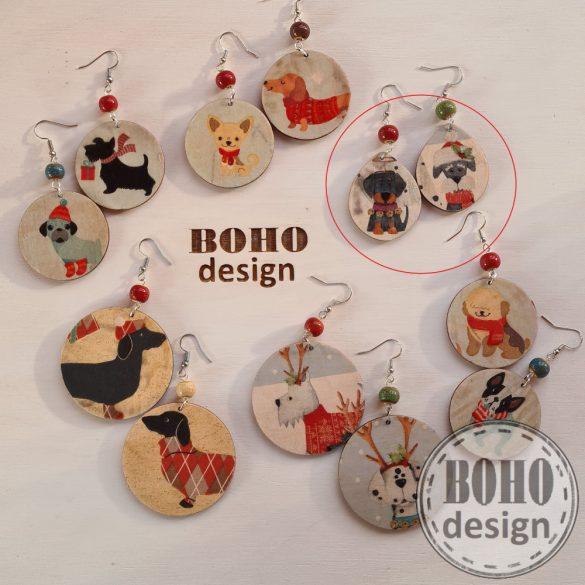 Kutyapárok 6. szálkásszőrű tacskó- BOHOdesign aszimmetrikus fülbevaló