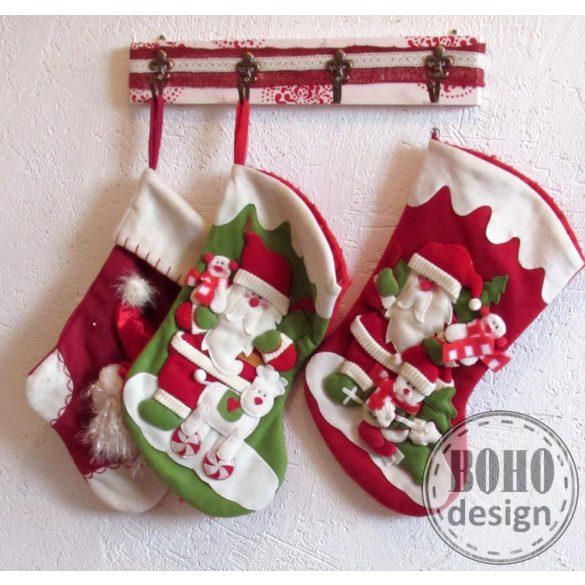 Karácsonyi zoknitartó - konyharuha- vagy törölközőtartó