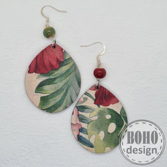 Zöld-piros leveles - aszimmetrikus fülbevaló