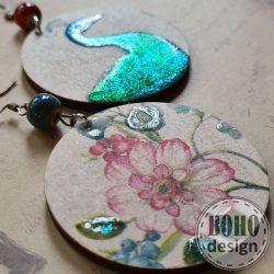 Pirosbogyós páva - BOHOdesign aszimmetrikus fülbevaló NAGY