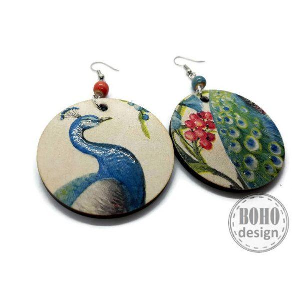 Pirosbogyós páva - BOHOdesign aszimmetrikus fülbevaló