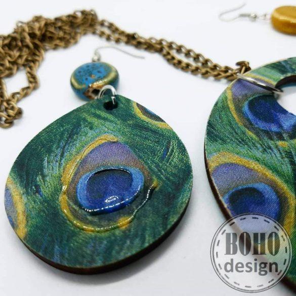 Pávatollas BOHOdesign aszimmetrikus fülbevaló