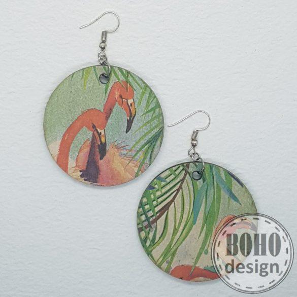 Trópusi Flamingó -  aszimmetrikus fülbevaló