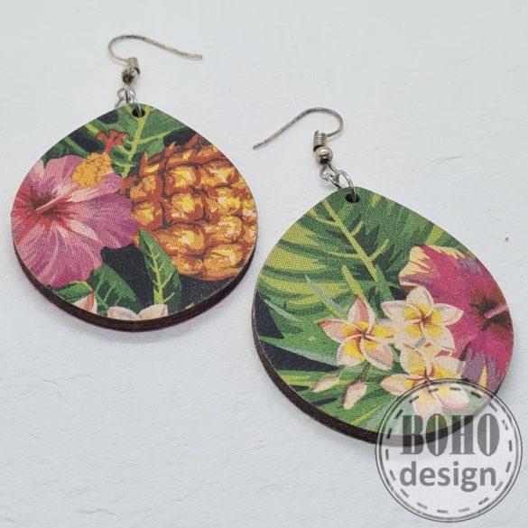 Virágos- ananászos - aszimmetrikus fülbevaló