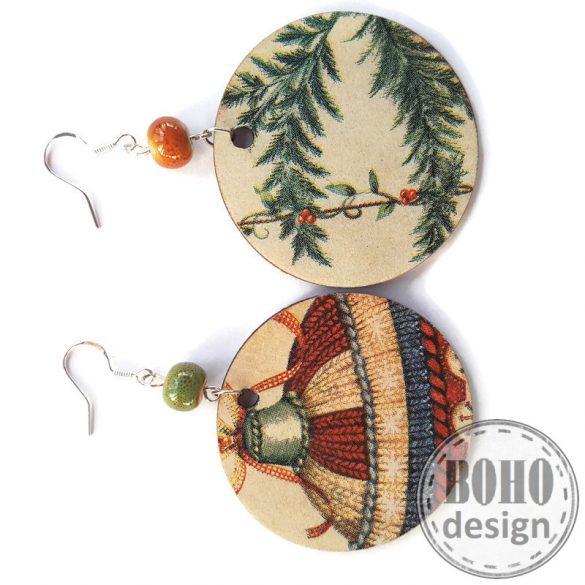 Karácsonyfadíszes - BOHOdesign aszimmetrikus fülbevaló